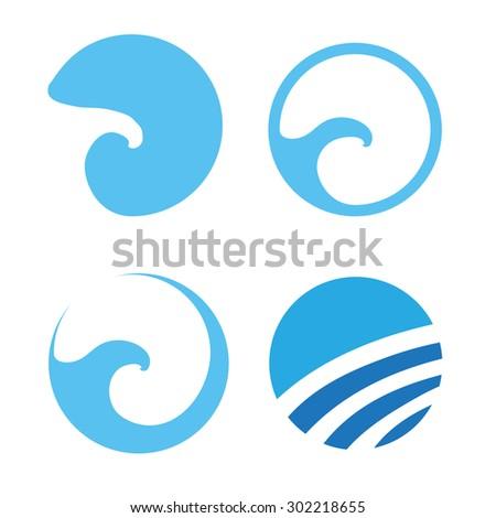Set of Water wave logos, vector illustration - stock vector