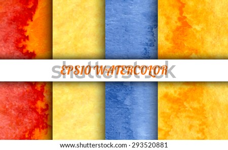 Set of 4 watercolor abstract gradient backgrounds. Vector backgrounds in spring or summer mood: blue, red, orange and yellow colors. Handmade backgrounds for cards, banners, invitations, and menus.  - stock vector