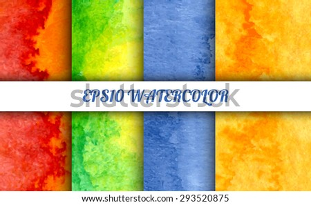 Set of 4 watercolor abstract gradient backgrounds. Vector backgrounds in summer mood of rainbow colors. Handmade backgrounds for cards, banners, invitations, and menus.  - stock vector