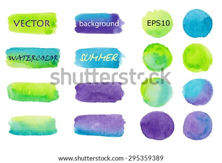 Set of watercolor backgrounds green, blue, purple. Strips for buttons, labels, accents. Stripes and circles painted by hand. 16 vector elements on a white background. Eps10. Summer Background. - stock vector