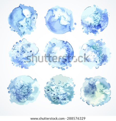 Set of watercolor banners spots. Watercolor texture, handmade, background. Element for design, for printing and web projects.