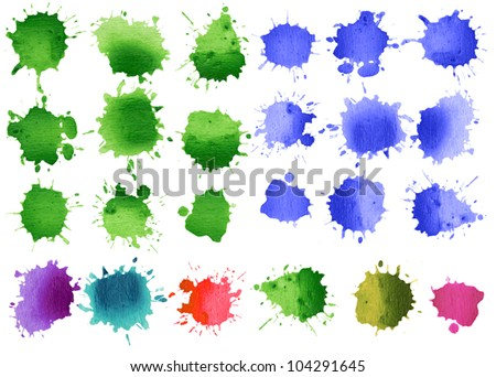 Set of watercolor blobs, isolated on white background - stock vector