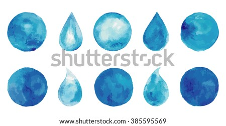 Set of watercolor blue splashes, drops, spots. Indigo logo set. Hand drawn painting blobs. Texture emblem, sign label. Eco water, natural product, organic.  - stock vector