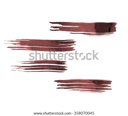 Set of Watercolor brush strokes. Dark Red brush.