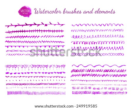 Set of watercolor brushes - stock vector