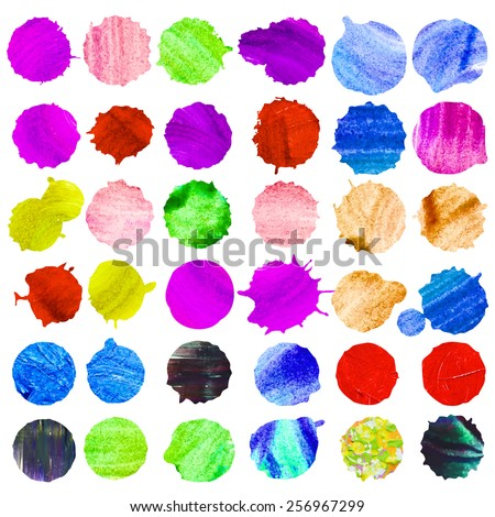 Set of 36 watercolor circles. Nice watercolor round shaped vector spots.