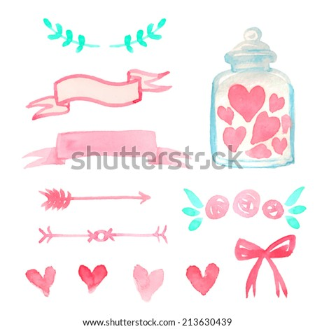 Set of watercolor design elements for Valentine Day card or wedding invitation. Vector illustration. - stock vector