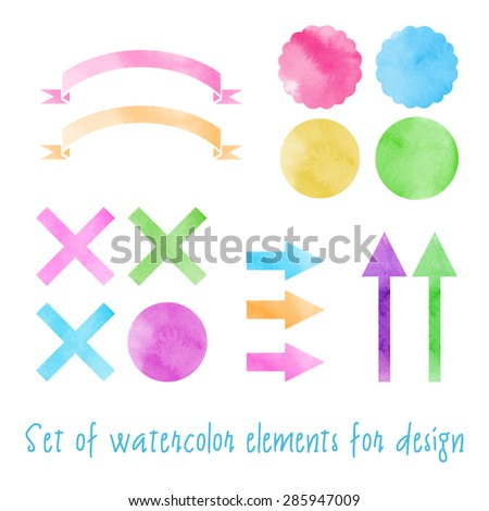 Set of watercolor elements for design. Isolated. Vector illustration on white background