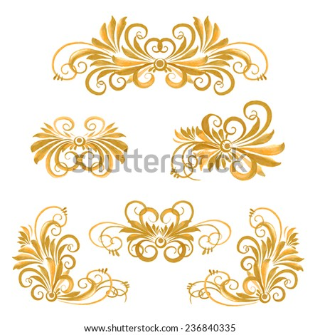set of watercolor floral disign elements - stock vector