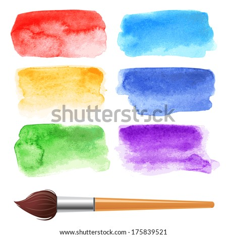 set of 6 watercolor frames - stock vector