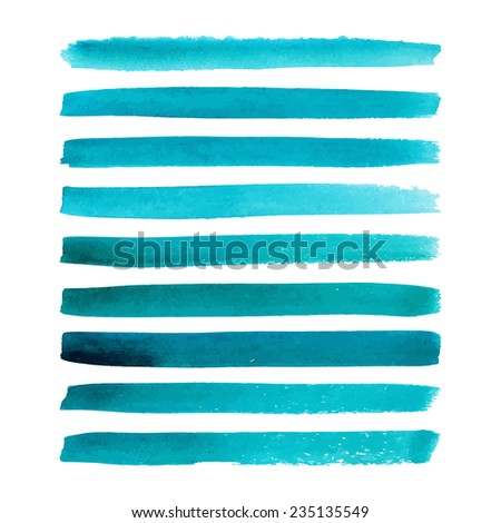 Set of watercolor hand painted stripes. Realistic vector graphics. Hand drawn watercolor elements for design. Aquamarine abstract vector strips on the white background. Vector illustration. - stock vector