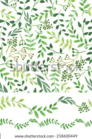 Set of watercolor Hand sketched  green  seamless pattern border set. Hand painted leaves,branches,petal decor elements.For backdrop,fabric,wallpaper,backdrop,background.Nature,organic Vector - stock vector