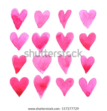Set of watercolor hearts. Love card with red watercolor hearts.  - stock vector