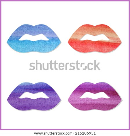 Set of watercolor lips. Different colors, vector. - stock vector