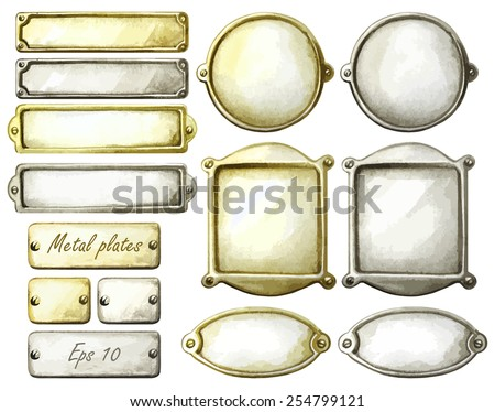 Set of watercolor metal plates. Rectangle, circle and oval frames. Gold and silver. Vector design elements isolated on white background - stock vector