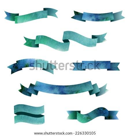 Set of watercolor ribbons. Vector illustration - stock vector