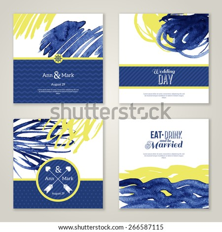 Set of watercolor romantic wedding invitations. Vector illustration. Hand drawn design elements in marine style. Save the date cards. Blue and yellow colors. Menu design. - stock vector
