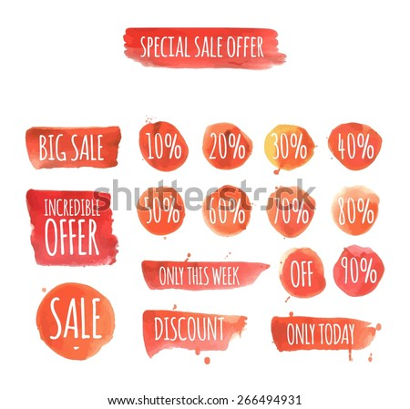 set of watercolor sale and discount labels. vector illustration - stock vector