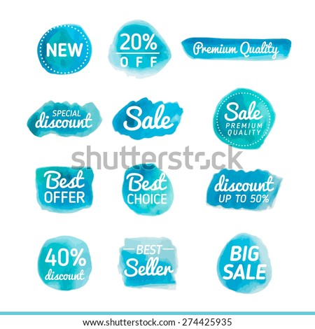 set of watercolor sale banners, vector illustration - stock vector