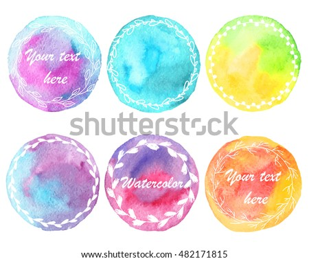 Set of watercolor stain. Spots on a white background. Circle. Blue, turquoise, pink, purple, green, yellow, orange. Plant design, wreath. Isolated spots.Vector.