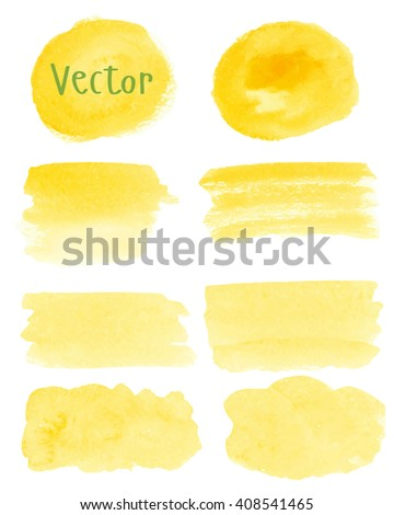 Set of watercolor stain. Spots on a white background. Round, rectangle, spot. Yellow color. Vector. - stock vector