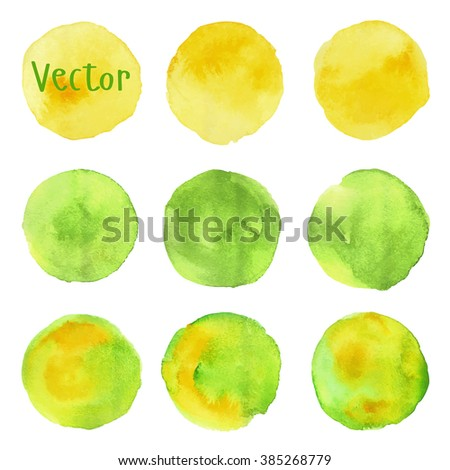 Set of watercolor stain. Spots on a white background. Round. Yellow, green, olive. Vector. - stock vector