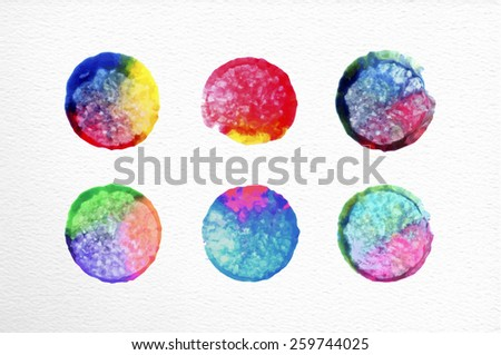 Set of watercolor stains circle elements hand drawn illustration. EPS10 vector file organized in layers for easy editing. - stock vector