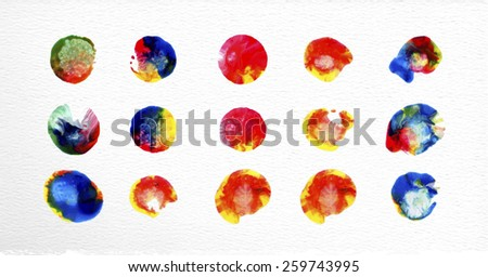 Set of watercolor stains circle elements illustration. EPS10 vector file organized in layers for easy editing. - stock vector