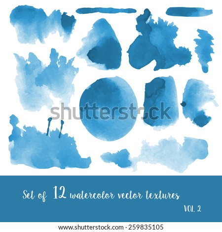 Set of watercolor strokes and blobs - stock vector