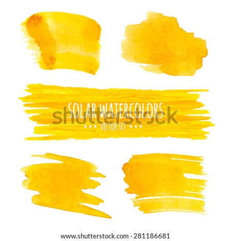 Set of watercolor sunny banners and blots, isolated on white background. - stock vector