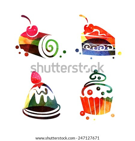 Set of watercolor sweet cake silhouettes. Vector tea time illustration - stock vector