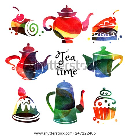 Set of watercolor teapot and sweet cake silhouettes. Vector tea time illustration - stock vector