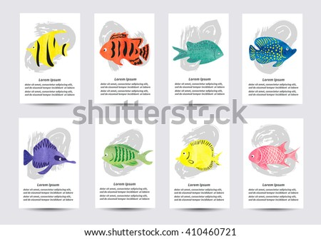 Set of watercolor tropical fish. Collection of card templates for design. Vector illustration.  - stock vector