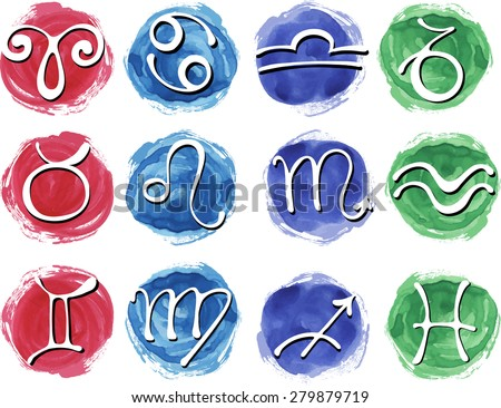 Set of watercolor zodiac signs - stock vector