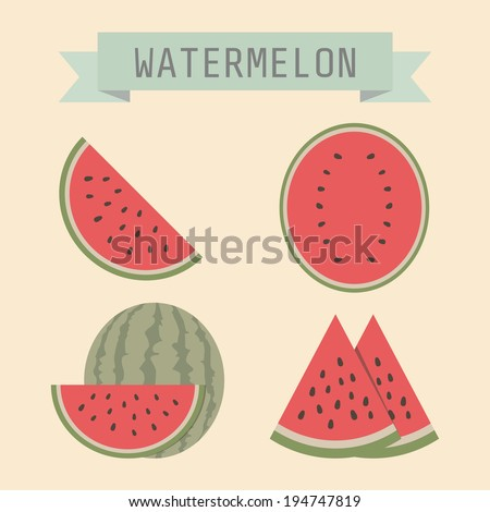 set of watermelon with sign, flat style - stock vector