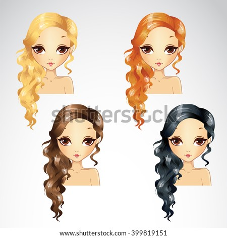 Set Of Wave Long Hair Styling - stock vector
