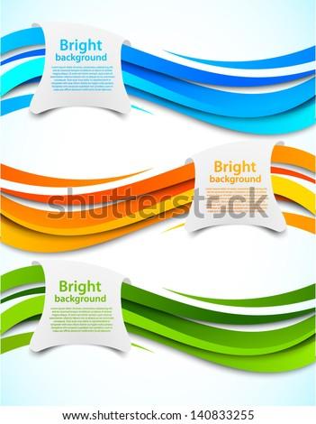 Set of wavy banners - stock vector