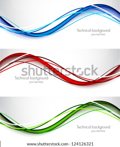 Set of wavy banners. Abstract illustration - stock vector