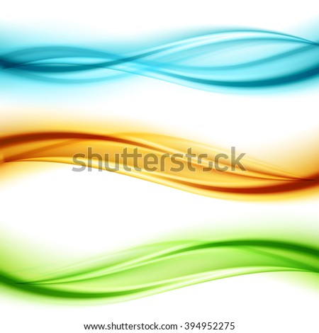Set of wavy banners. Shiny transparent green, blue and orange wave.  Wave banner