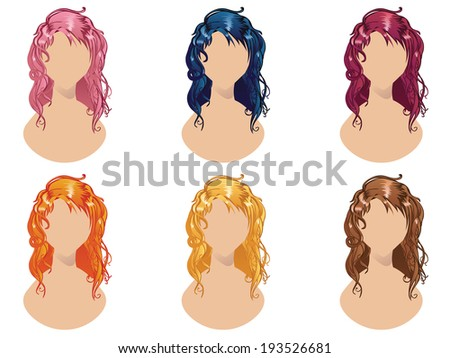 Set of wavy hair style in different colors. - stock vector