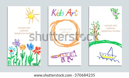 Set of wax crayon kid`s drawn colorful cards with hand drawing flowers, cat, sun, tree, ship on white. Hand drawn art background. Child`s painting pastel chalk lines and design elements, vector. - stock vector