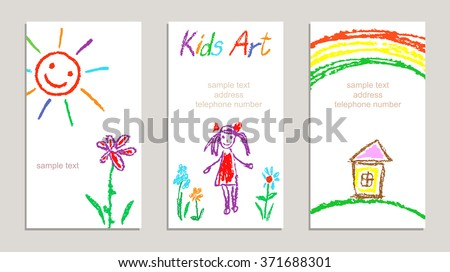 Set of wax crayon kid`s drawn colorful cards with hand drawing flowers, girl, house, sun, letters on white. Hand drawn art background. Child`s painting pastel chalk line and design elements, vector. - stock vector