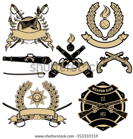 Set of weapon labels and design elements.  Weapon labels. Antique guns, mortar, silicon guns, swords, old guns - stock vector