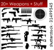 Set of Weapons Silhouettes in Vector art - stock vector