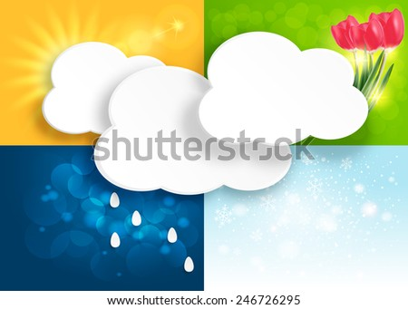 Set of weather and season background. Winter, spring, summer and autumn - four seasons. - stock vector
