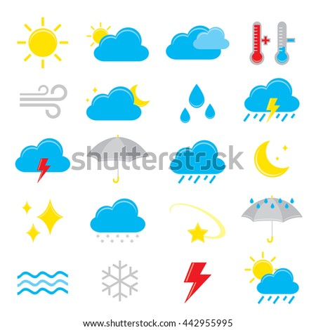 Set of weather icon element Vector - stock vector