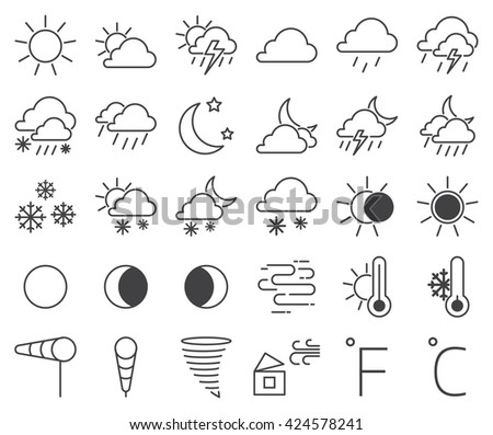 Set of weather icons and weather icons vector illustration. Snowflake cloud set weather icons and sun temperature weather icons. Weather icons thermometer symbol and drop season weather icons. - stock vector