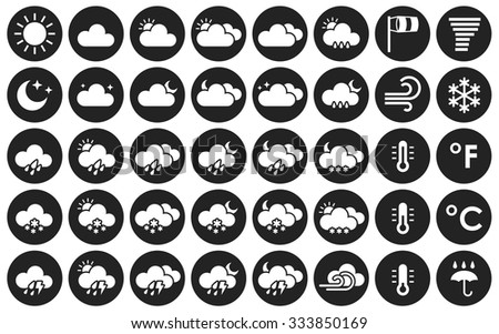 Set of weather icons. Black and white vector illustration for your design solution. Eps 10. Clear sky. Cloudy weather. Increased cloudiness. Sunshine. Sunlight. Tornado. Blizzard - stock vector