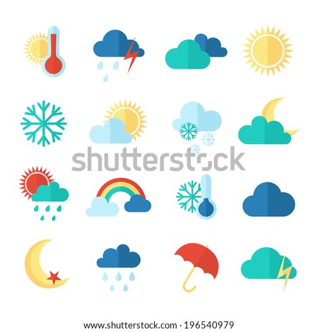 Set of weather icons. Flat style - stock vector