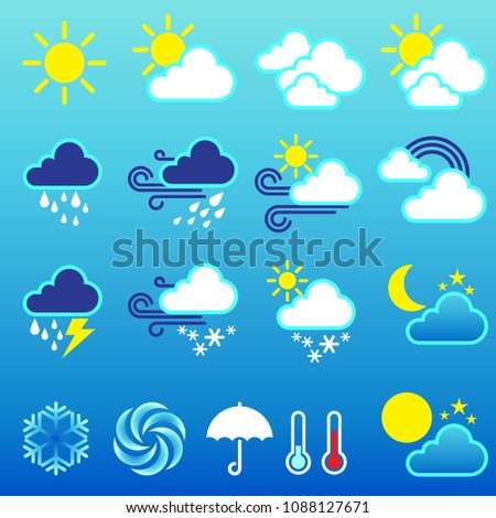 Set Weather Icons Modern Weather Icons Stock Vector 1088127671